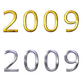 3d year of 2009 in gold and silver Stock Image