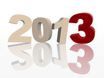 3d year 2013 in red and grey. 3d color figures like ciphers makes year 2013 over white background Stock Image