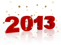 3d year 2013 in red and stars Royalty Free Stock Photos