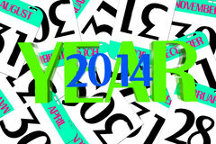 3D Year 2014. The figures for 2014 in the middle the chart Royalty Free Stock Images