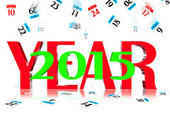3D Year 2015. Calendar icon is dropped from the top Stock Images