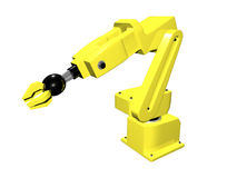 3D Yellow automated arm. On white isolated background Royalty Free Stock Photos