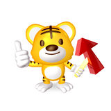 3d yellow cute tiger standing Royalty Free Stock Photo