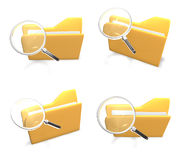 3d yellow folder and magnifying glass Royalty Free Stock Photography