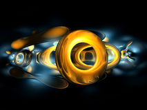 3D Yellow Gold Abstract Render Black Blue Backgrou Stock Photo