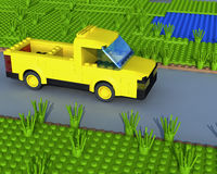 3D yellow pickup on road Stock Photography