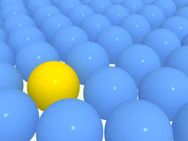 3d yellow sphere among blue spheres. Yellow sphere among blue spheres Royalty Free Stock Photo