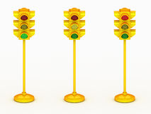 3d yellow traffic light Royalty Free Stock Images