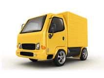 3D Yellow Van isolated Stock Photo