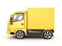 3D Yellow Van isolated Stock Photography