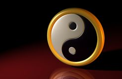 3D - Yin und Yang Symbol 01. 3D symbol black, white and gold on red ground Stock Image