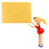 3D young business woman holding a yellow envelope  Stock Photography