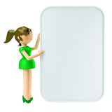 3D young female posing with a blank billboard agai. 3D Render of young female posing with a blank billboard against white background Royalty Free Stock Photo