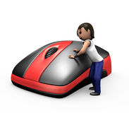 3d Young Man Clicking PC Mouse Stock Images