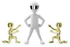 3D złociści mali ludzie pokazywać swój lidera. 3D wizerunek. ilustracja wektor