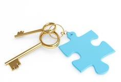 3d złoci klucze przylepiać etykietkę dwa Obraz Stock