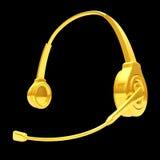 3d złoto hełmofon Fotografia Stock
