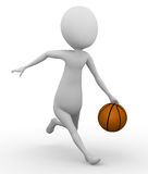 3D z koszykówką mężczyzna bieg Zdjęcie Royalty Free