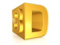 3d złoty znak Zdjęcia Royalty Free