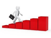 3d zakenman die aan succes in werking wordt gesteld Stock Afbeelding