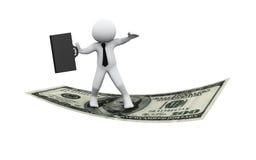 3d zakenman die op dollar vliegt Royalty-vrije Stock Afbeelding