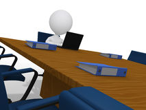 3d zakenman die in vergaderingsruimte wacht in bureau Royalty-vrije Stock Foto