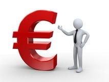 3d zakenman met euro teken Royalty-vrije Stock Fotografie