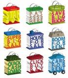3d zdojest guzików ikon sprzedaży ustalonych zakupy teksta słowa Zdjęcia Stock