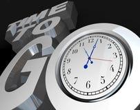 3d zegarowy odliczający puszek idzie czas rozpoczęcia słowa Obrazy Royalty Free