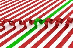 3d Zeichen des roten und grünen Hauses getrennt Stockfoto