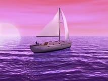 3D Zeilboot met zon het plaatsen Stock Afbeelding