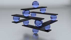 3d zen sculpture. 3d zen balance sculpture with blue glass balls Royalty Free Stock Images