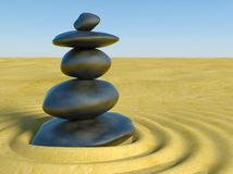 3d Zen stones in a zen sand. Calm Stock Photo