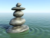 3d Zen stones in a zen water Stock Photos