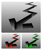 3D zigzag arrows. A set of three, three-dimensional zigzag arrows of red, green and gray Stock Images