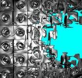 3d zilveren chroom geëxplodeerdM correct-systeem op blauw Royalty-vrije Stock Foto's