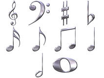 3D Zilveren Nota's van de Muziek Royalty-vrije Stock Afbeeldingen