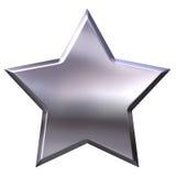 3D Zilveren Ster Stock Afbeeldingen