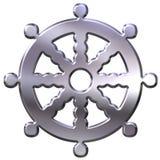 3D Zilveren Symbool van het Boeddhisme Royalty-vrije Stock Afbeeldingen