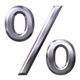 3D Zilveren Symbool van het Percentage Stock Foto