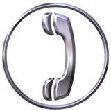 3D Zilveren Teken van de Telefoon Royalty-vrije Stock Fotografie