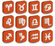 3D zodiac orange icon Royalty Free Stock Photography