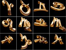 3D Zodiac Sign. S on black background Royalty Free Stock Photo