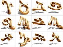 3D Zodiac Sign. S, gold metal, isolated on white, s Royalty Free Stock Images