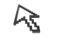 3d zwarte hoge pixelpijl Stock Afbeeldingen