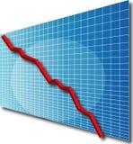 3dline going down. 3d line chart going down vector illustration