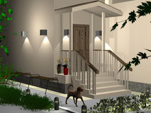 3dmax  entrance zone of a house. 3dmax The project of an entrance zone of a house Stock Photography