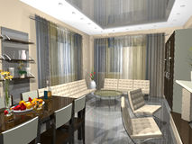 3dmax interior of a drawing room. 3dmax The project of an interior of a drawing room Royalty Free Stock Image