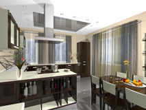 3dmax kitchen, guest. 3dmax The project of an interior of kitchen a kind from a drawing room Stock Photo
