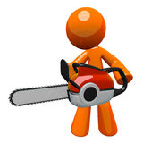 3dOrange Man With Chain Saw Royalty Free Stock Image